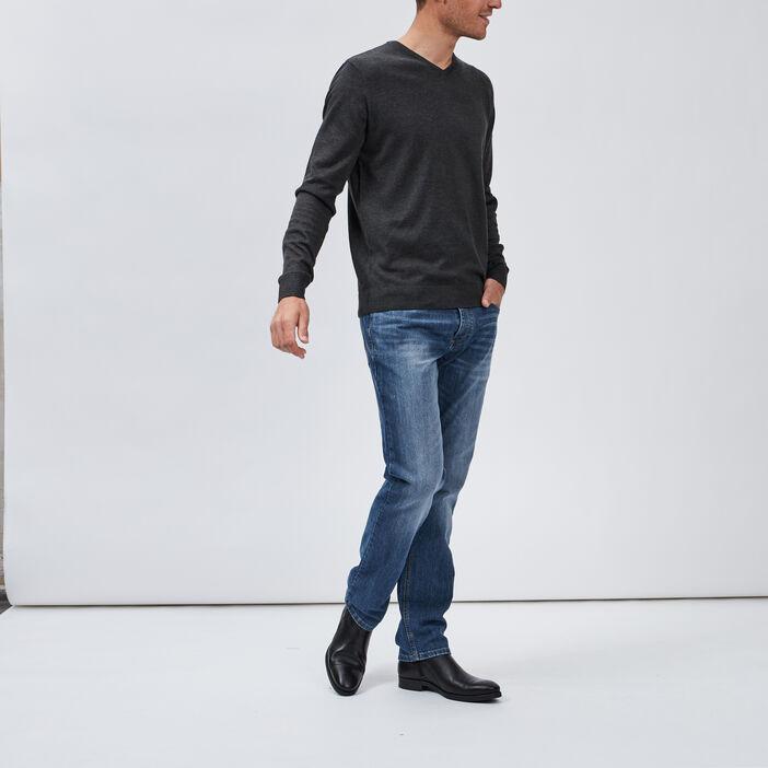 Jeans regular effet délavé homme denim double stone