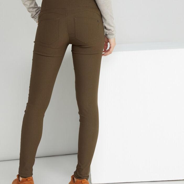 Pantalon slim taille haute femme vert kaki