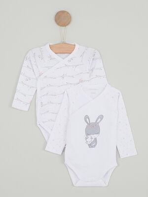 Ensemble 2 bodies en coton blanc bebe