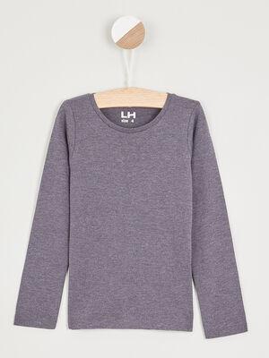 T shirt uni en coton gris fonce fille