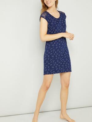 Chemise de nuit avec dentelle bleu marine femme