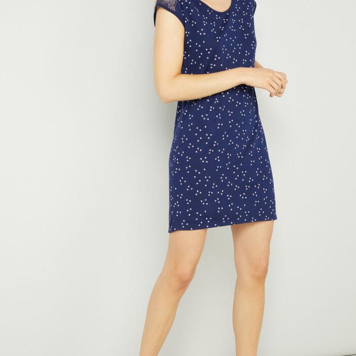 Chemise de nuit avec dentelle femme bleu marine