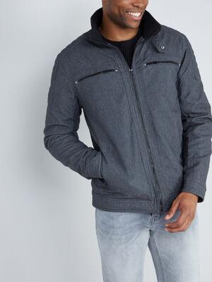 Blouson zippe en similicuir gris fonce homme