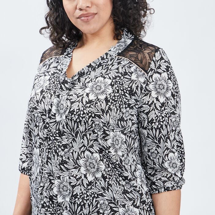 T-shirt manches 3/4 femme grande taille ecru