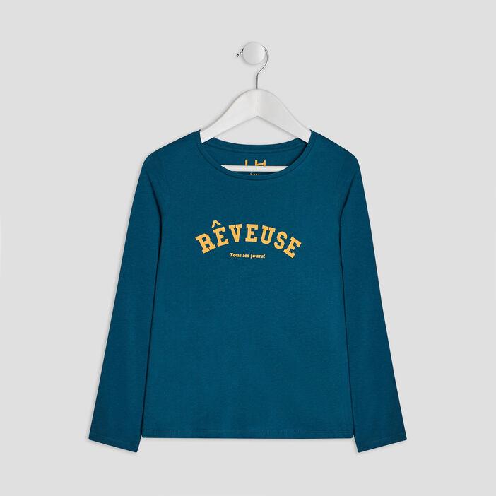 T-shirt manches longues fille bleu canard