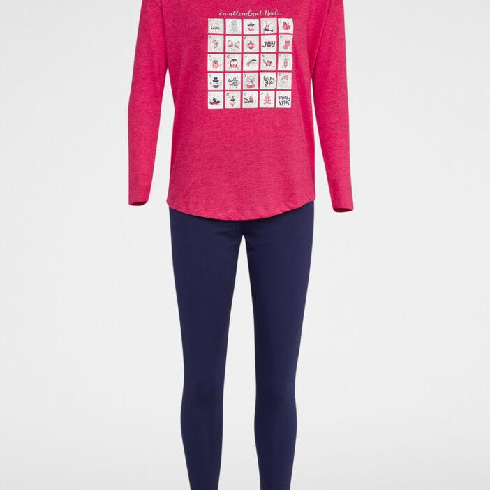 Pyjama legging t-shirt imprimés femme rouge