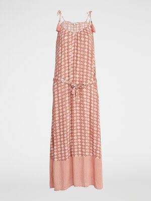 Robe longue imprimee a bretelles orange corail femme