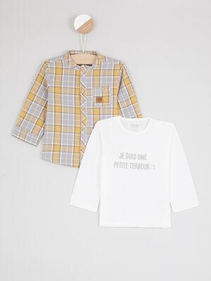 Ensemble t shirt raye et salopette jaune garcon