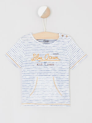 T shirt fines rayures poche kangourou ecru garcon