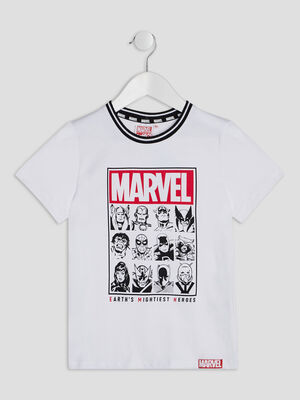 T shirt manches courtes Marvel blanc garcon