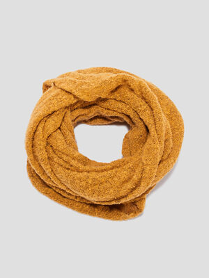 Snood maille bouclette jaune moutarde femme