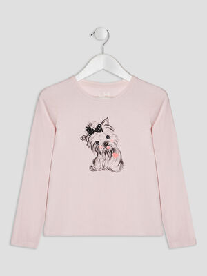 T shirt manches longues rose clair fille