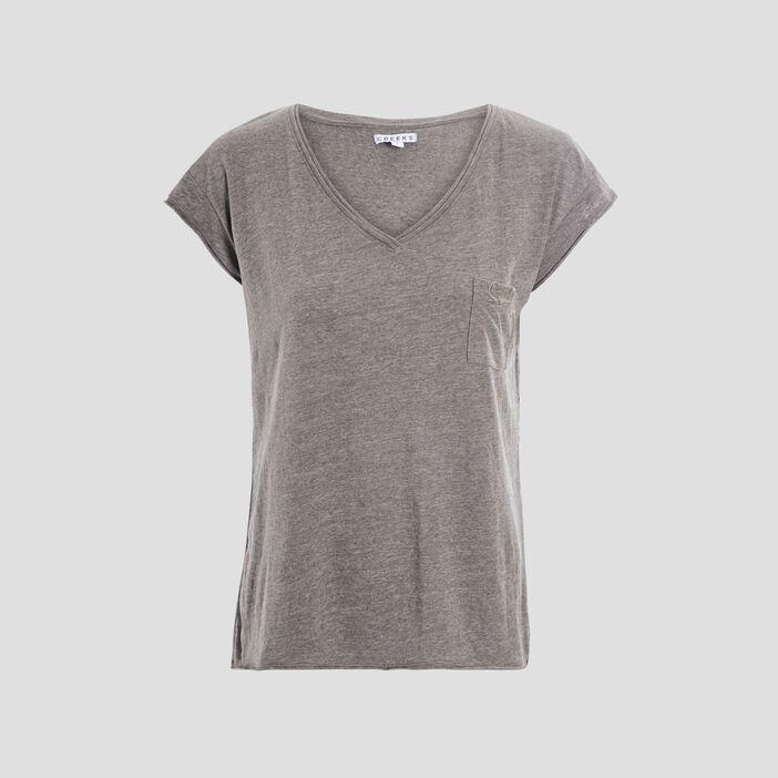 T-shirt manches courtes Creeks femme vert kaki