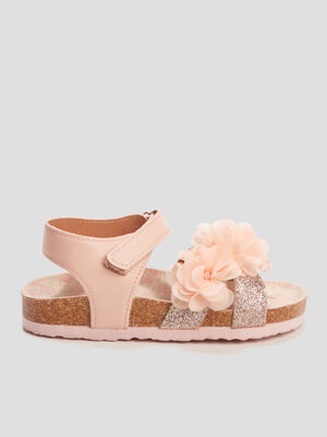 Sandales a froufrous rose fille