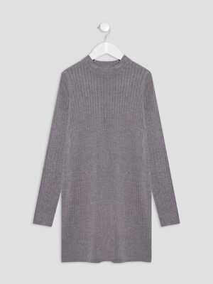 Robe pull droite cotelee gris fonce fille