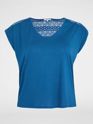 T shirt avec dentelle fantaisie bleu canard femme