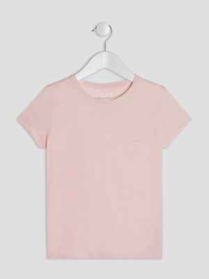 T shirt manches courtes rose clair fille