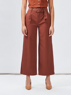 Pantalon large fluide ceinture marron femme
