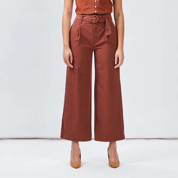 Pantalon large fluide ceinturé femme marron