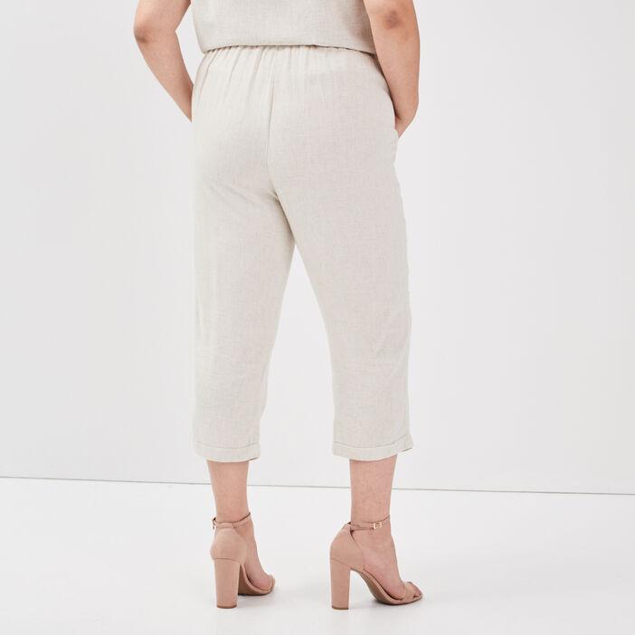 Pantacourt droit femme grande taille beige