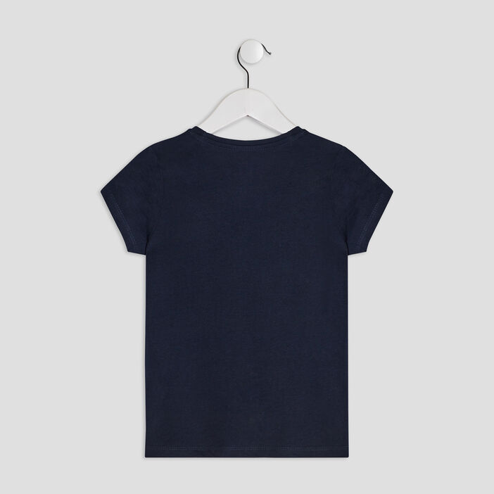 T-shirt manches courtes fille bleu marine