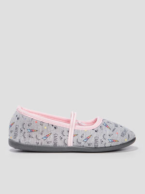 Chaussons ballerines gris fille