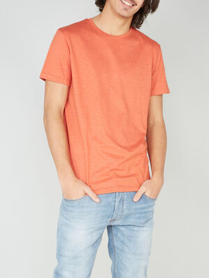 T shirt col rond uni orange fonc homme