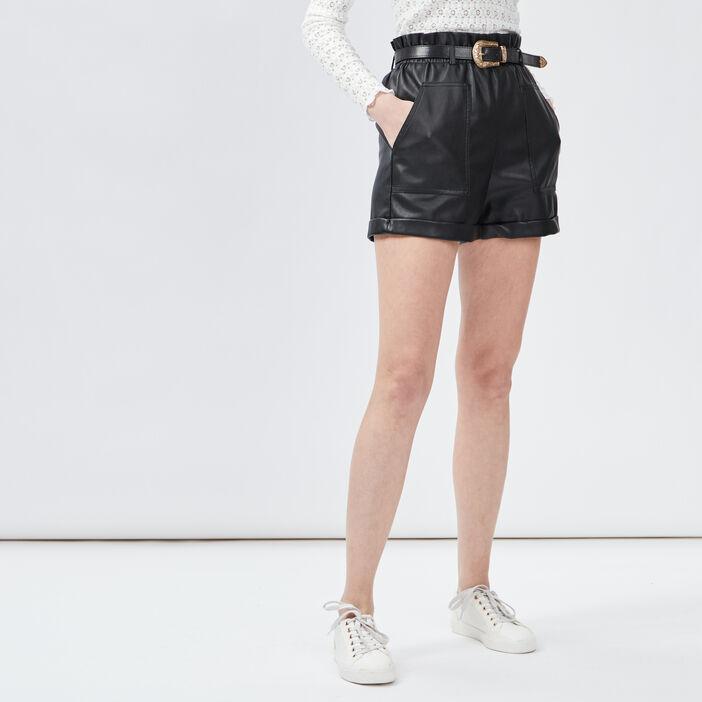Short paperbag ceinturé femme noir