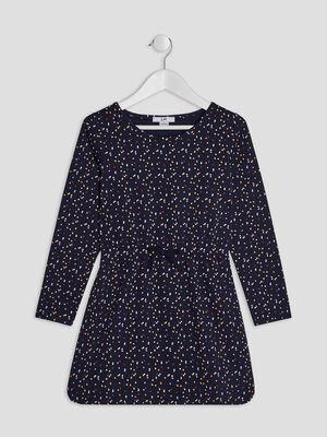 Robe evasee coton imprime multicolore bleu marine fille