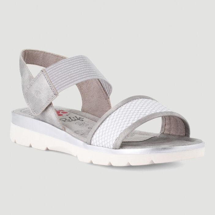 Sandales à scratch détails irisés femme gris