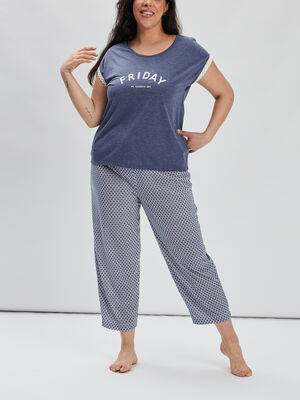 Ensemble pyjama 2 pieces bleu marine femmegt