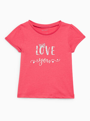 T shirt inscriptions devant rose fushia fille