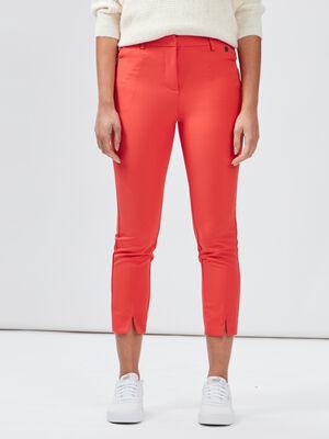 Pantalon droit a fentes rouge femme