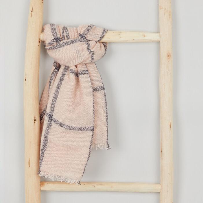 Écharpe à carreaux fille rose