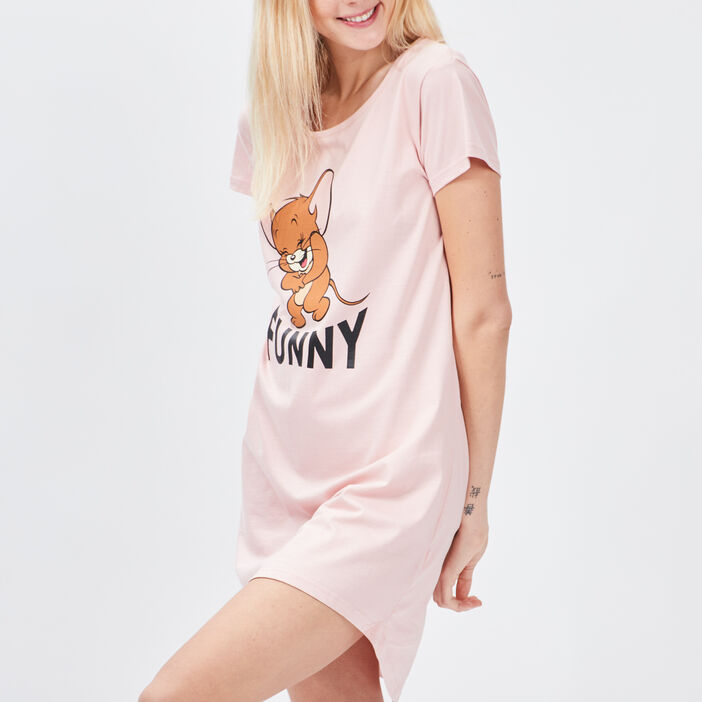 Chemise de nuit Tom et Jerry femme rose