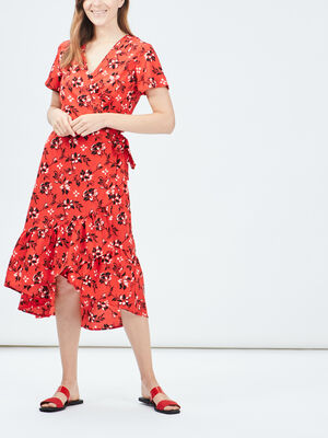 Robe portefeuille Mosquitos rouge femme