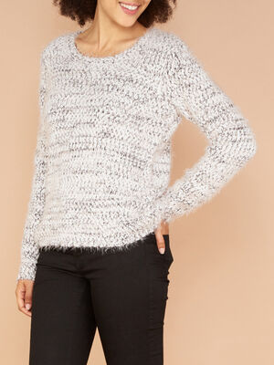 Pull en maille duveteuse chinee rose clair femme