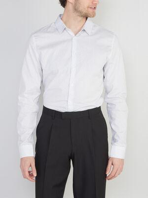 Chemise slim imprimee en coton blanc homme