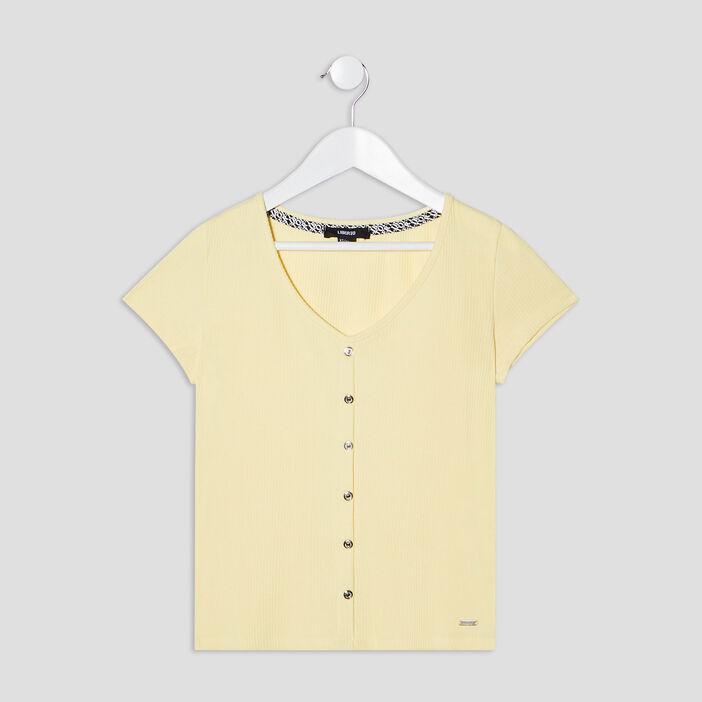 T-shirt côtelé Liberto fille jaune