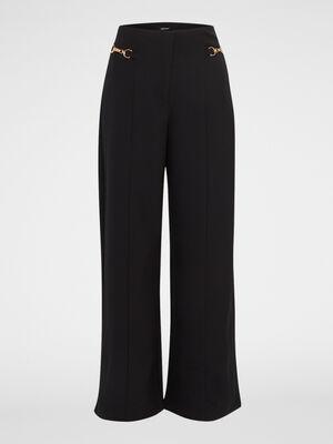Pantalon large uni detail bijoux noir femme