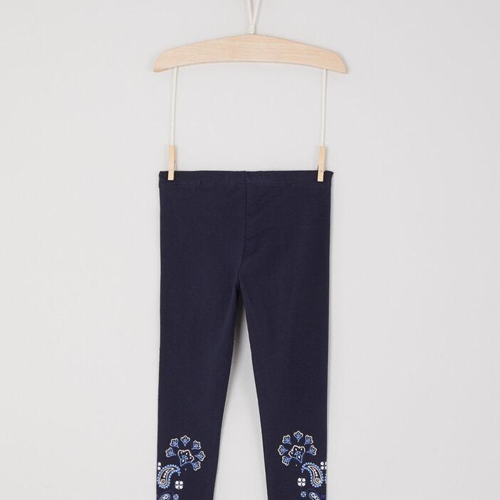Legging avec imprimé bas jambe fille bleu marine