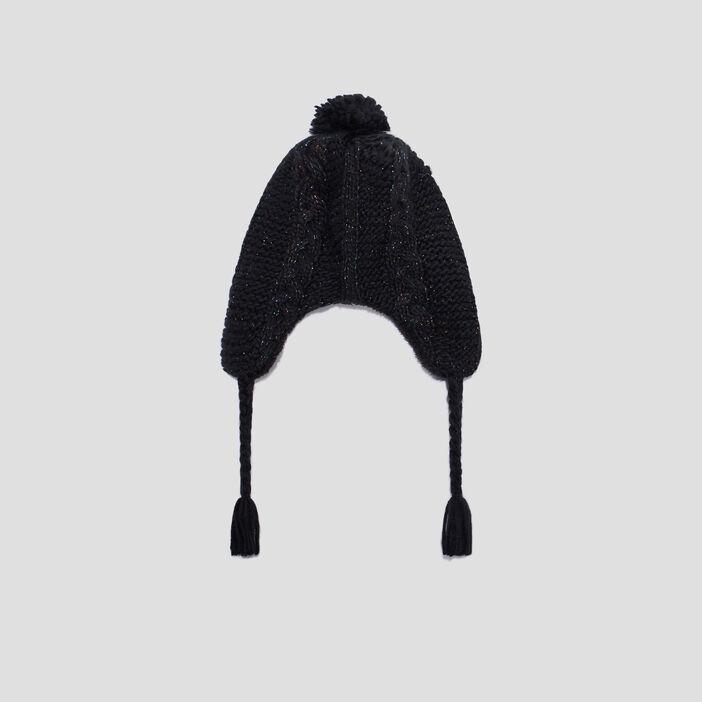 Bonnet péruvien avec pompon mixte noir