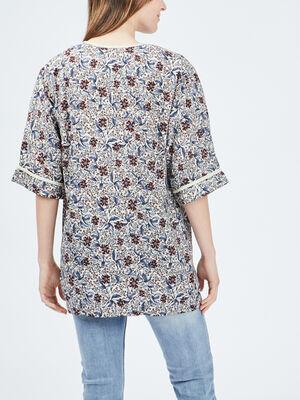 Veste droite esprit kimono bleu femme