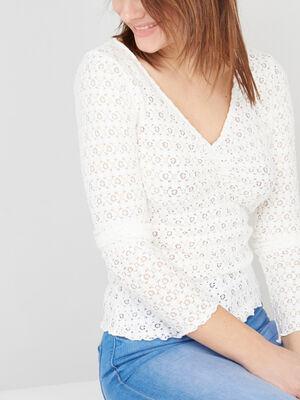 T shirt uni en dentelle ecru femme