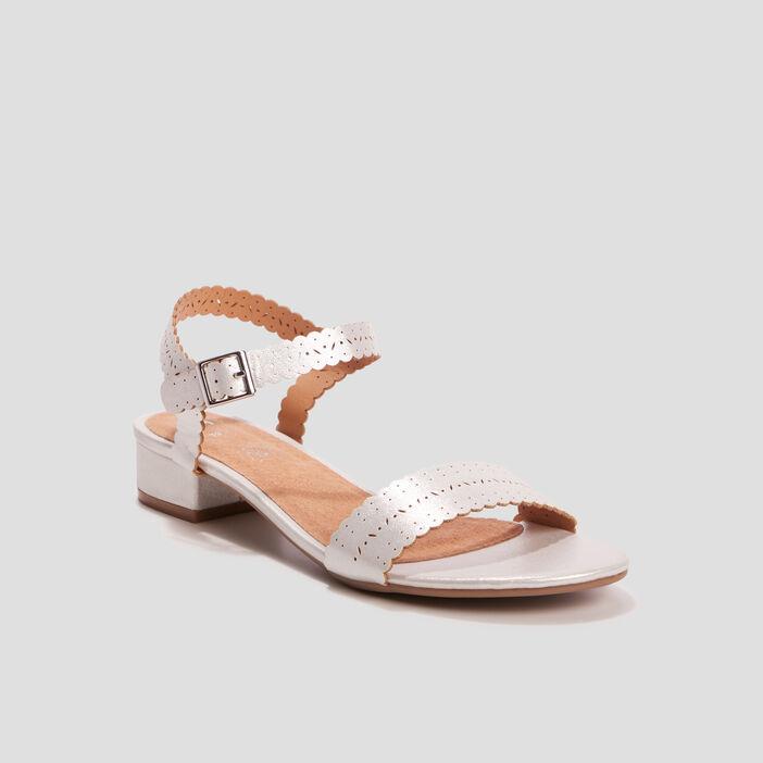 Sandales irisées à talons femme couleur argent