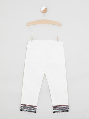 Pantalon skinny bas fantaisie ecru fille