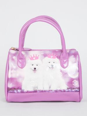 Sac bowling chiens couronnes violet fille