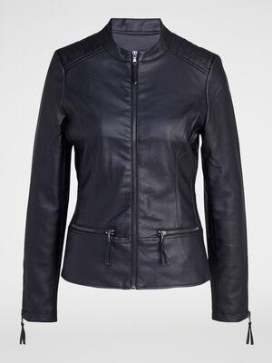 Veste zippee avec decoupes noir femme