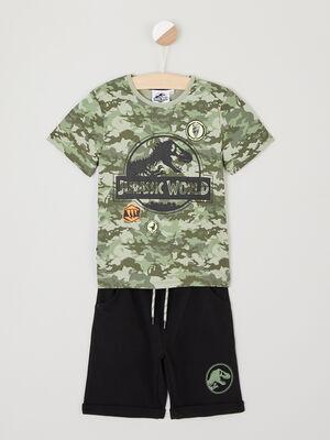 Ensemble bermuda T shirt Jurassic Park vert kaki garcon