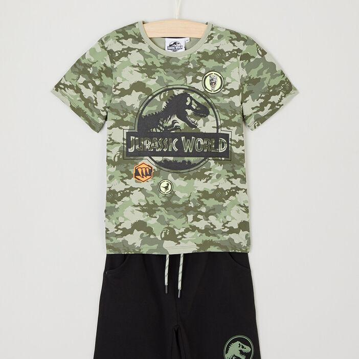 Ensemble bermuda T-shirt Jurassic Park garçon vert kaki